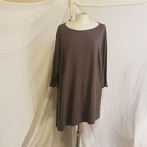 EILEEN FISHER Asymmetric Tunic w/3/4 Sleeves, 1X